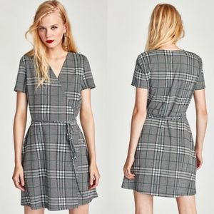 Zara plaid printed wrap dress.